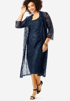 Lace & Sequin Jacket Dress Set, NAVY