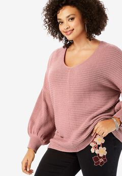 Balloon-Sleeve Sweater,