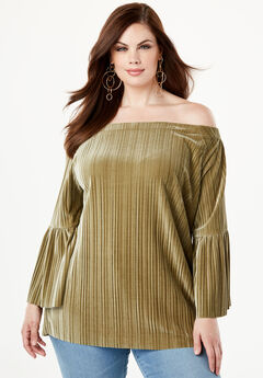9b7ca8d872e61 Pleated Velour Top with Off-The-Shoulder Neckline