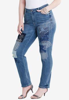 Embroidered Patchwork Straight Leg Jean by Denim 24/7®,