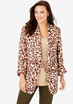 Draped Blazer, BROWN CHEETAH