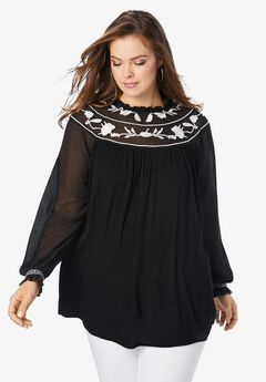 Embroidered Blouson-Sleeve Tunic, BLACK EMBROIDERY