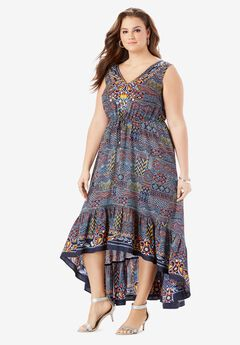 V-Neck Ruffled Hem Dress with High-Low Hem, MULTI BATIK EMBELLISHMENTS