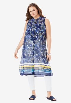 Sleeveless Mega Tunic, PARADISE PALM BORDER