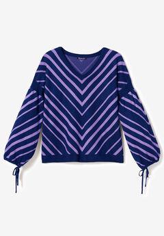 Fine-Gauge Chevron Sweater with Tie-Sleeve,