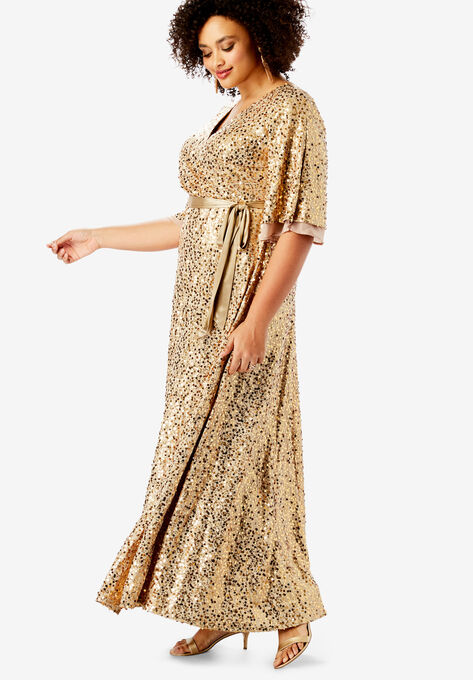 0367aa45bd12 Sequin Gown with Satin Belt| Plus Size Maxi Dresses | Full Beauty