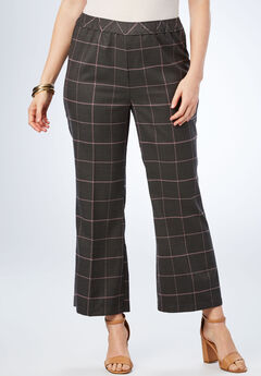 Bend Over® Kick Flare Pant, PLUM WINDOW PANE PLAID
