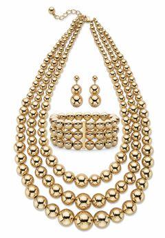 "Gold Tone Graduated Bib 17"" Necklace Set,"