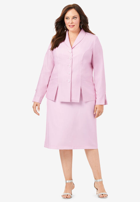 Two-Piece Skirt Suit with Shawl-Collar Jacket