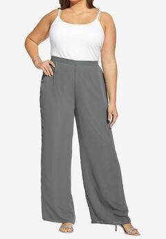 Georgette Wide-Leg Dress Pant, SLATE