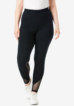 Essential Stretch Legging with Mesh Inset,