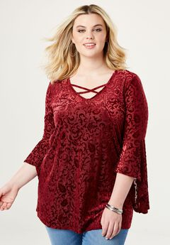Crisscross Bell Sleeve Tunic,
