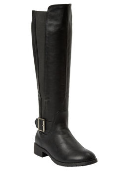 The Milan Wide Calf Boot by Comfortview®, BLACK