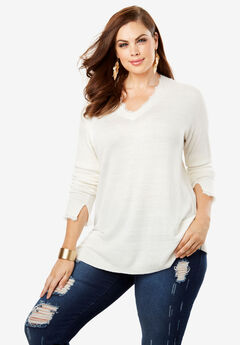 V-Neck Lace Inset Sweater,