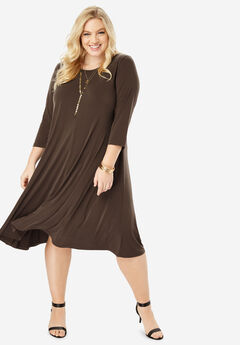 Swing Drape Dress with Curved Hem,
