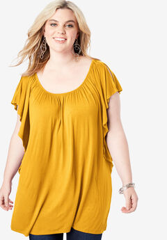 Slit Flutter-Sleeve Drape Tunic, SUNSET YELLOW