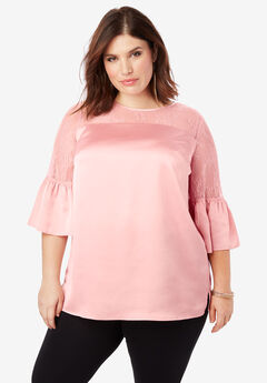 Lace Illusion Blouse with Bell Sleeves, SOFT BLUSH