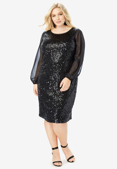 Sequin Sheath Dress with Long Sleeves, BLACK
