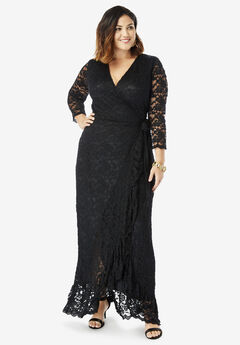 Lace Wrap Dress with Ruffle Hem, BLACK