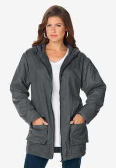 Hooded Jacket with Fleece Lining, DARK CHARCOAL