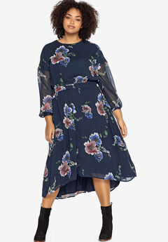 Sheer Sleeve High-Low Dress Castaluna by La Redoute,