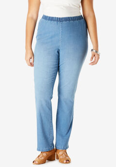 Bootcut Pull-On Stretch Jean by Denim 24/7®, LIGHT STONEWASH SANDED