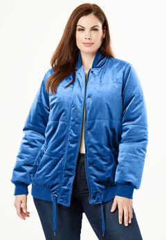 Velvet Bomber Puffer Jacket, DARK SAPPHIRE