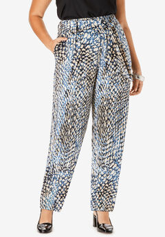 Pleated Pull-On Pant with Tie Sash, TEXTURED ANIMAL PRINT