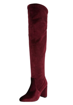 The Trisha Wide Calf Boot by Comfortview®, BURGUNDY