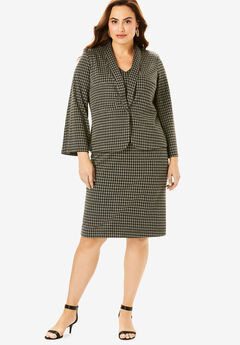 Ultimate Ponte Jacket Dress with Bell Sleeves, HOUNDSTOOTH