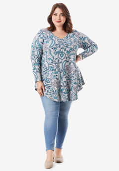 V-Neck Thermal Maxi Tunic, HEATHER FOLK PAISLEY PRINT