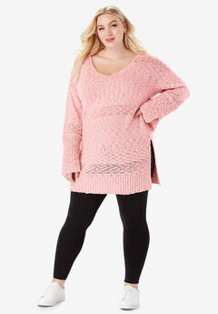 Bell-Sleeve Sweater With Openwork Detail,