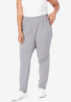 Soft Knit Ankle Pant, MEDIUM HEATHER GREY