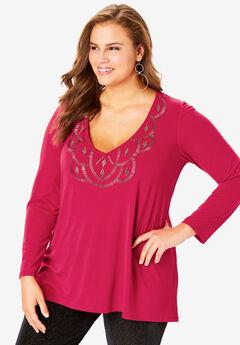 Embellished V-Neck Top, CLASSIC RED