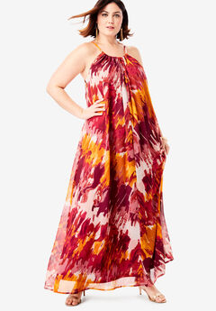 Swing Maxi Dress in Crinkle Chiffon,