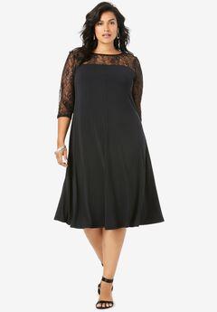 Ultra Smooth Illusion Lace Swing Dress,