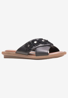 Olive X-Band Slide Sandal by Hush Puppies®, BLACK LEATHER