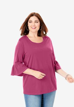 Bell-Sleeve Ultimate Tee, BERRY TWIST