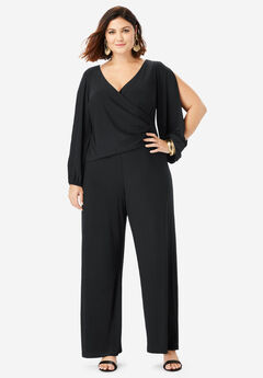Wide-Leg Jumpsuit with Slit Sleeves, BLACK