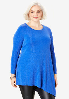 Glittery Asymmetric Tunic, ULTRA BLUE METALLIC