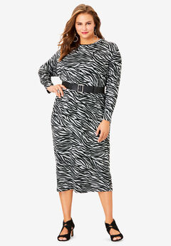 Belted Midi Dress, BLACK HEATHER ZEBRA