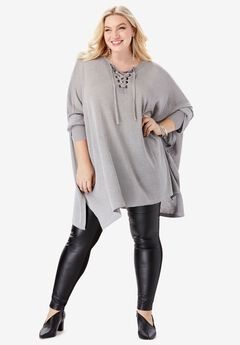 Metallic Pullover Poncho with Lace-Up Neck,