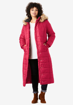 Maxi-Length Quilted Parka with Hood,