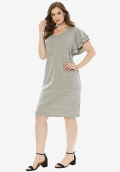 Ruffle-Sleeve Dress,