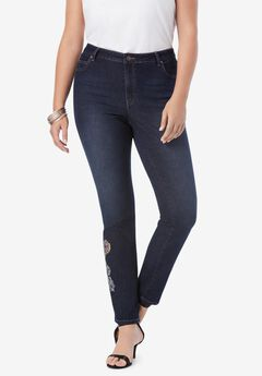 Embellished Straight-Leg Jean with Invisible Stretch® , PAISLEY EMBELLISHMENTS