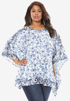 Printed Poncho Tunic, BLUE PRINT