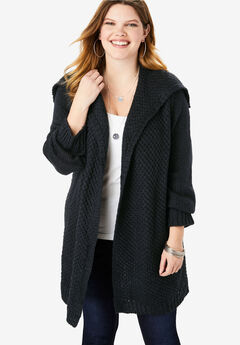 Chunky Tweed Cardigan, BLACK