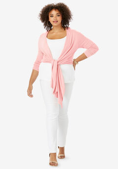 Convertible Tie-Front Cardigan, SOFT BLUSH