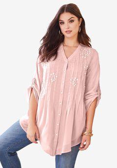 Glam-Embellished Big Shirt,