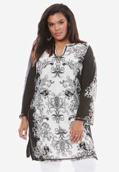 Beaded Print Maxi Tunic, BLACK IVORY PAISLEY